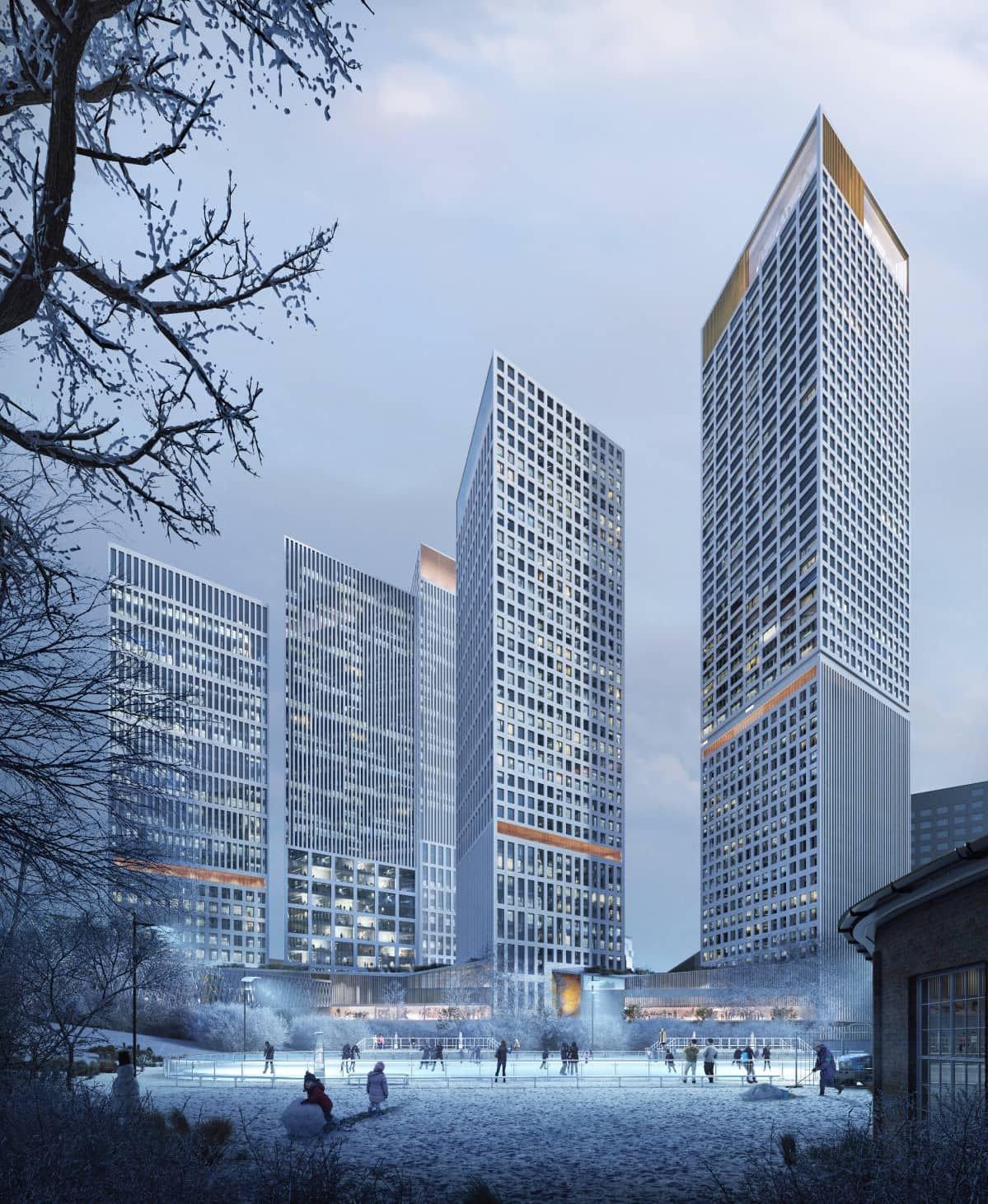 Trigoni, YIT:n ehdotus Helsinki High-rise -kilpailuun. Talvinäkymä Veturipuistosta Länsialueelle.