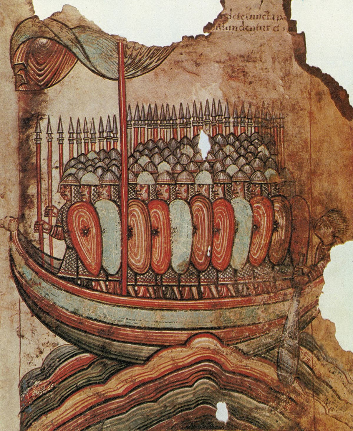 Viikinkilaiva täynnä kypäräpäisiä viikinkejä kilpineen ja keihäineen.