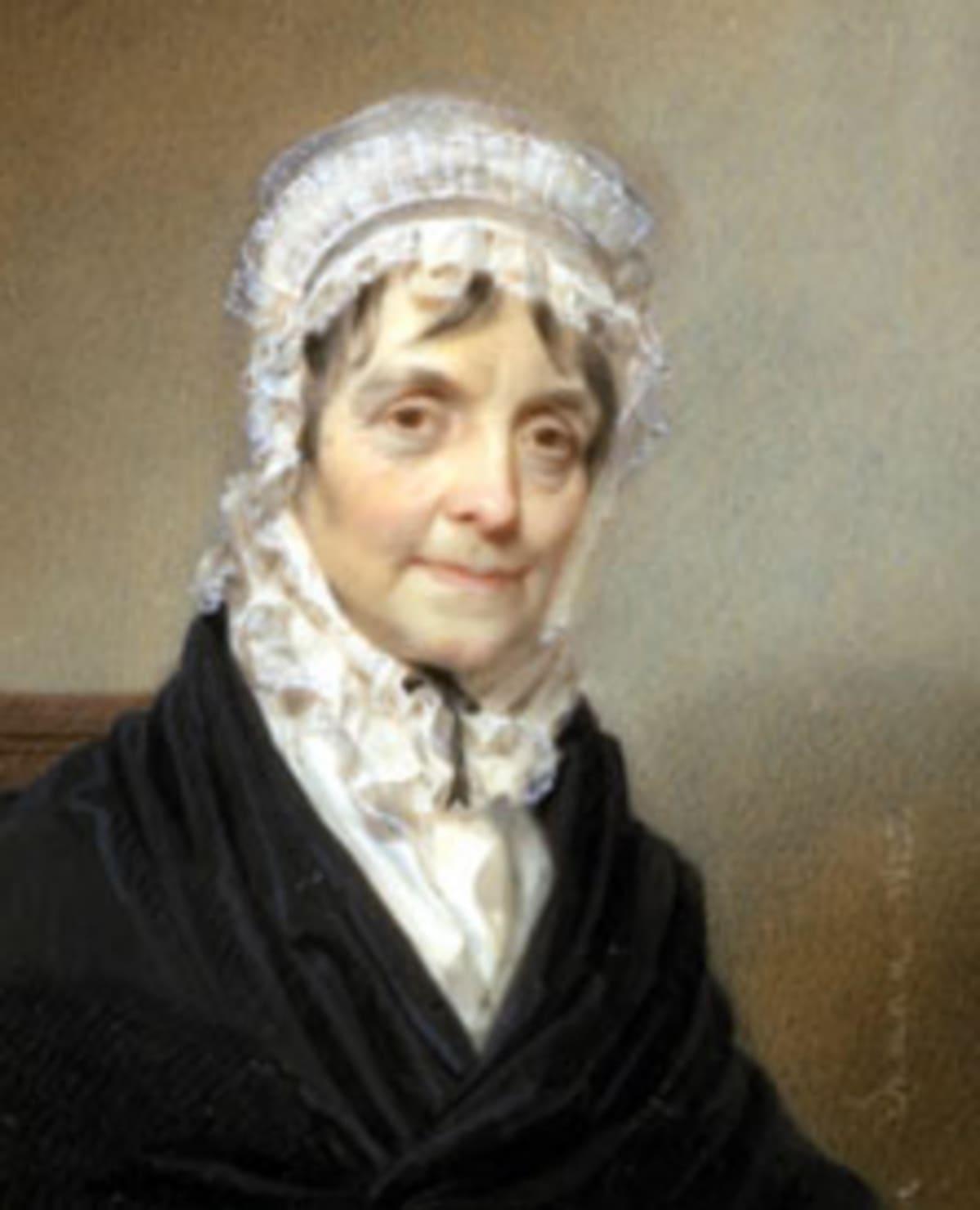 Elizabeth Schuyler Hamilton eli 50 vuotta miestänsä vanhemmaksi. Tässä hän poseeraa taidemaalari Henry Inmanille vuonna 1825.