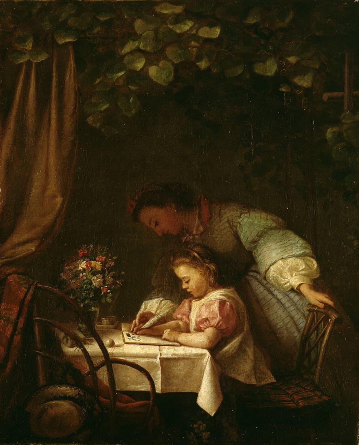 Ida Silfverbergin lukemaan opettelevaa lasta esittävä maalaus