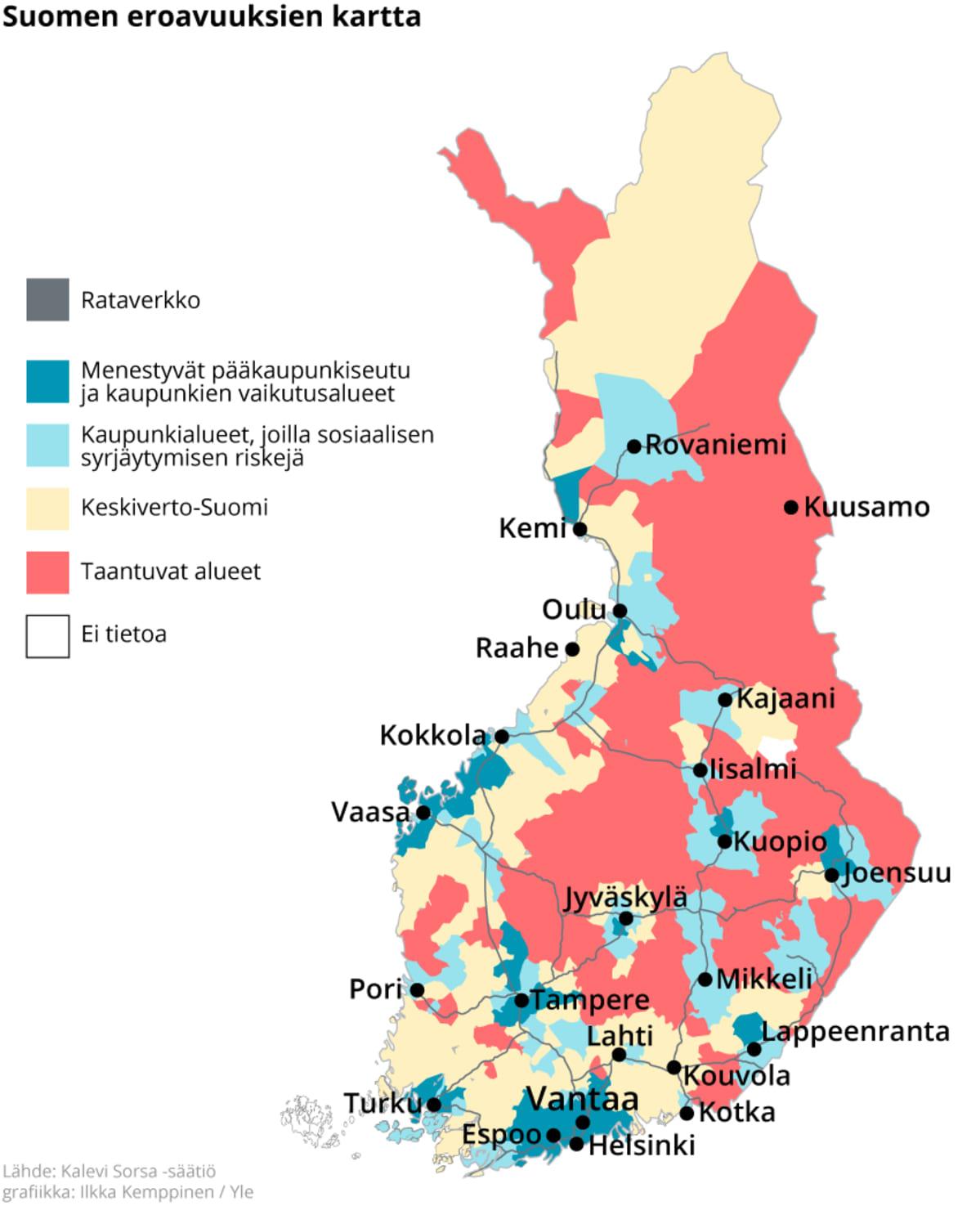 Suomen kartta johon on merkitty menestyvät ja taantuvat alueet.