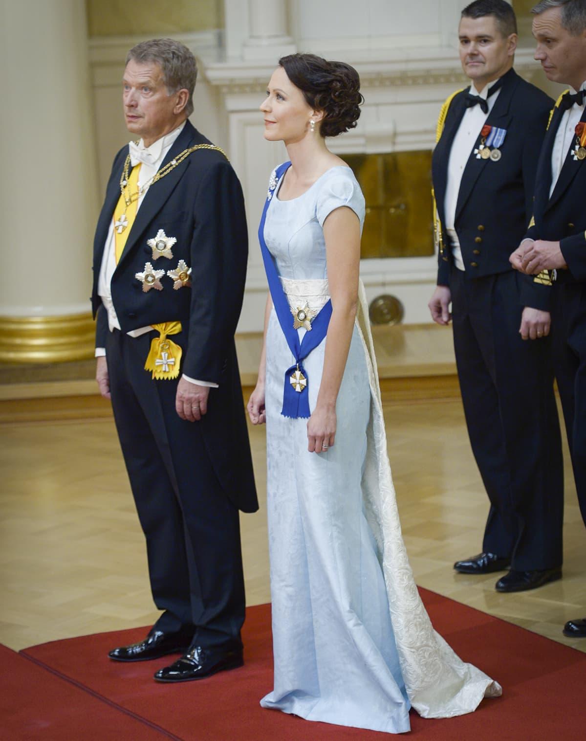 Itsenäisyyspäivän vastaanotto Presidentin Linnassa, kuvassa Jenni Haukio ja Sauli Niinistö, Helsingissä 06. joulukuuta 2014