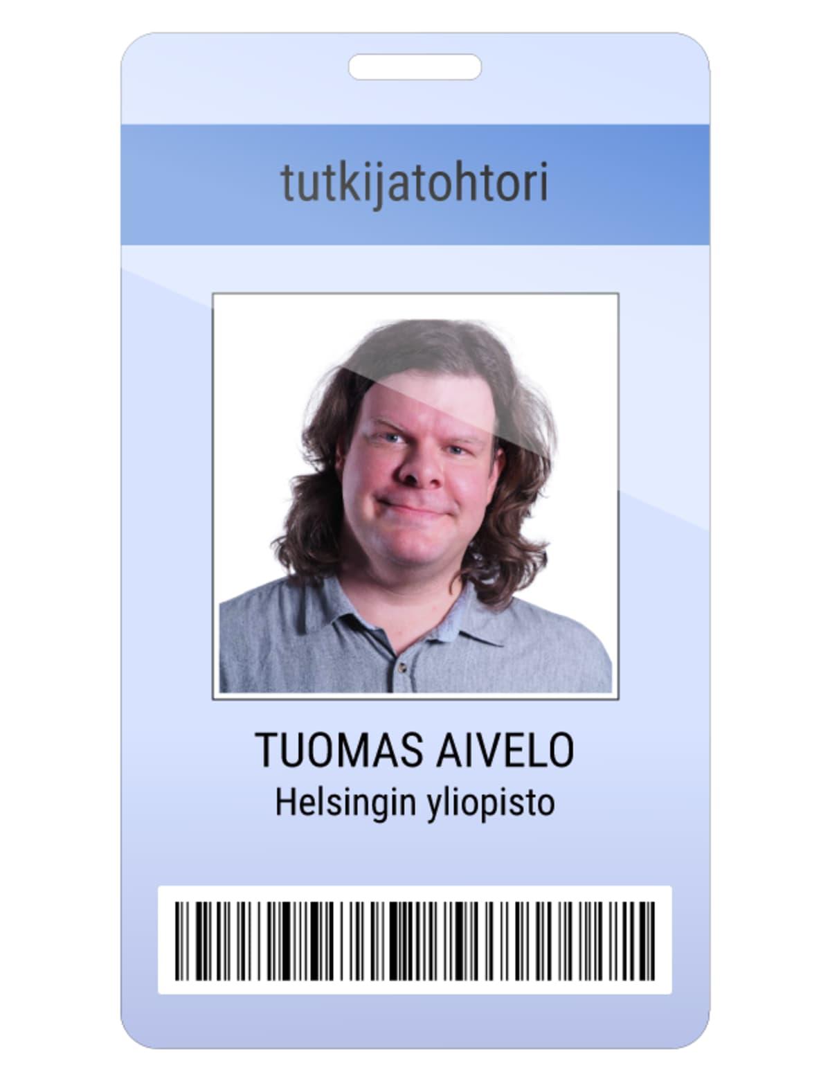 Tuomas Aivelo kuvitteellinen kulkukortti.