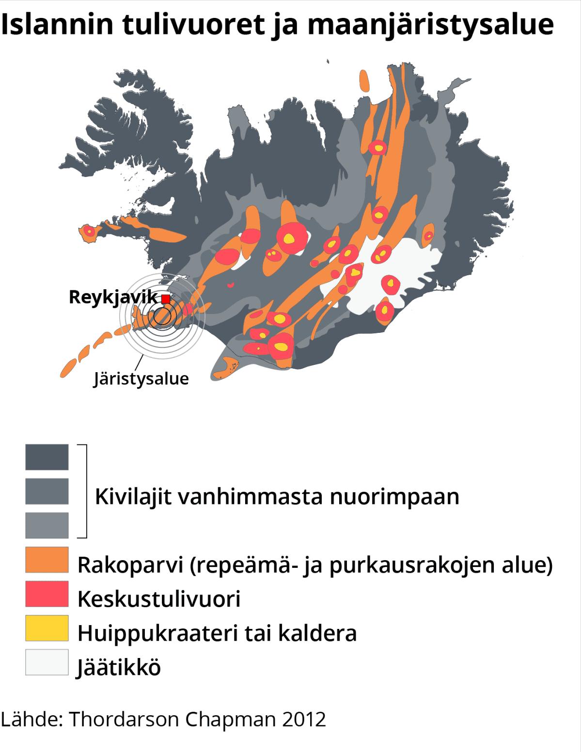 Infokartta Islannin tulivuorista ja maanjäristysalueista.