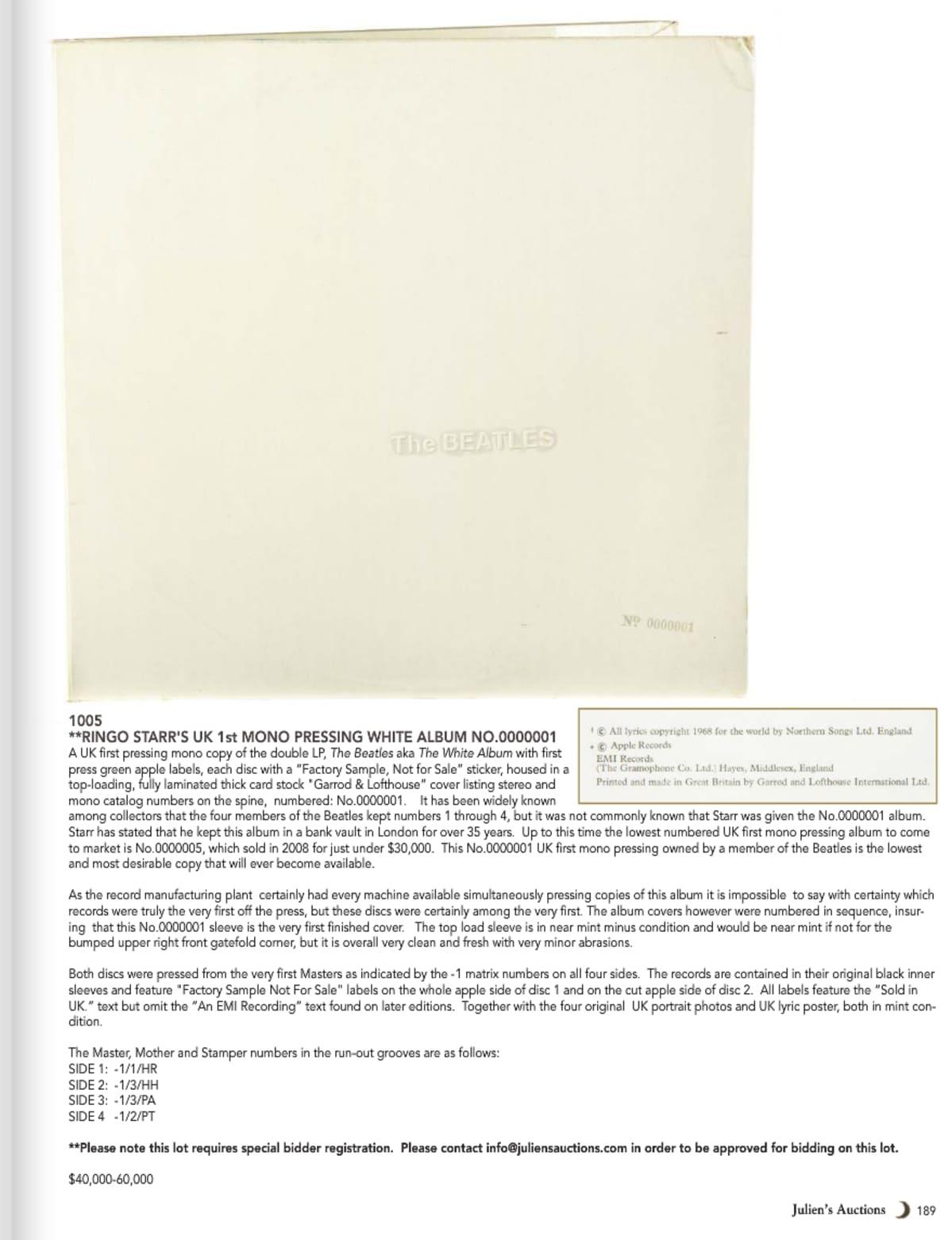 Kuvankaappaus Ringon omistaman White Albumin esittelysivusta Julien`s Auctions -huutokauppakamarin katalogista.