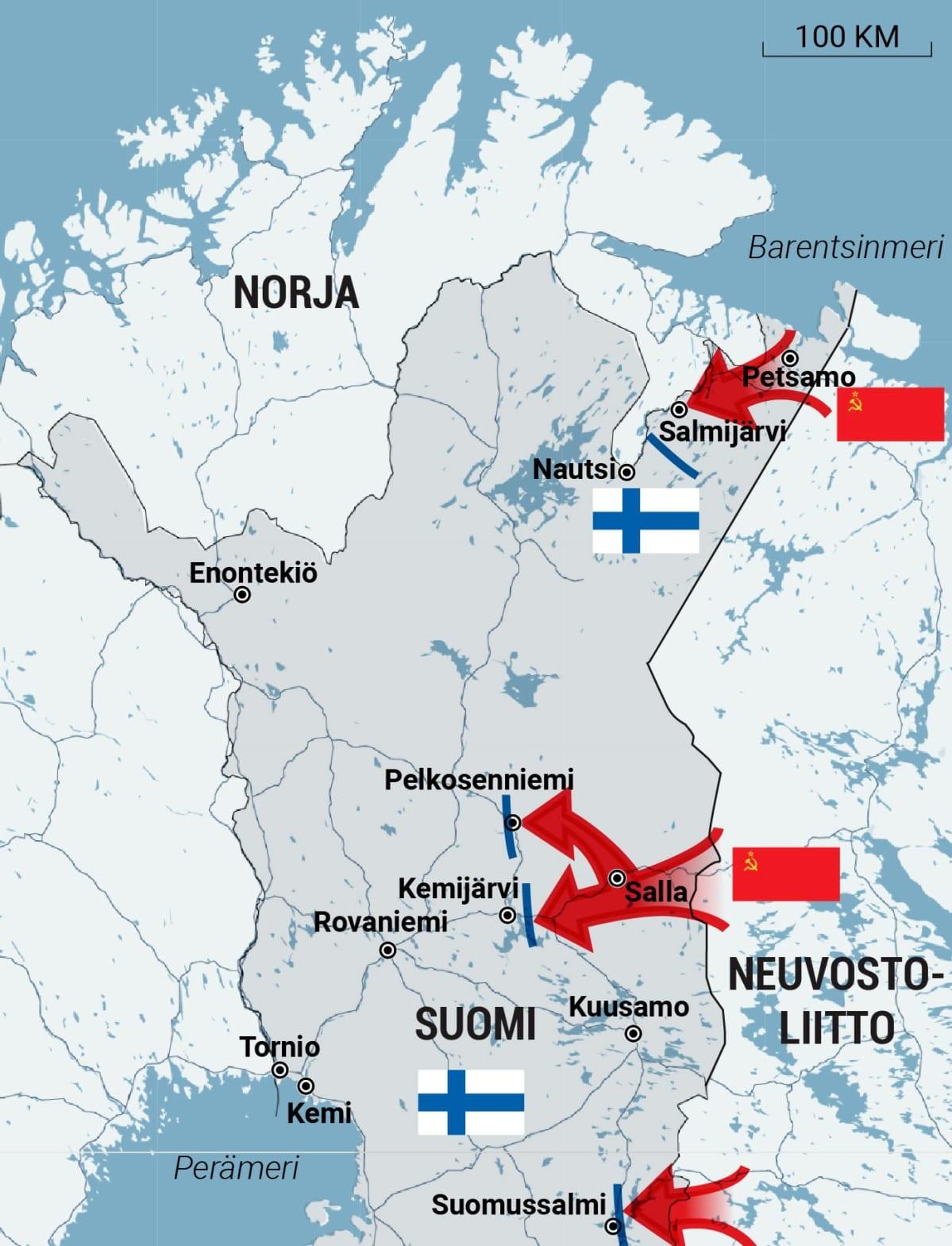 Karttagrafiikka talvisodan taisteluista Lapissa.