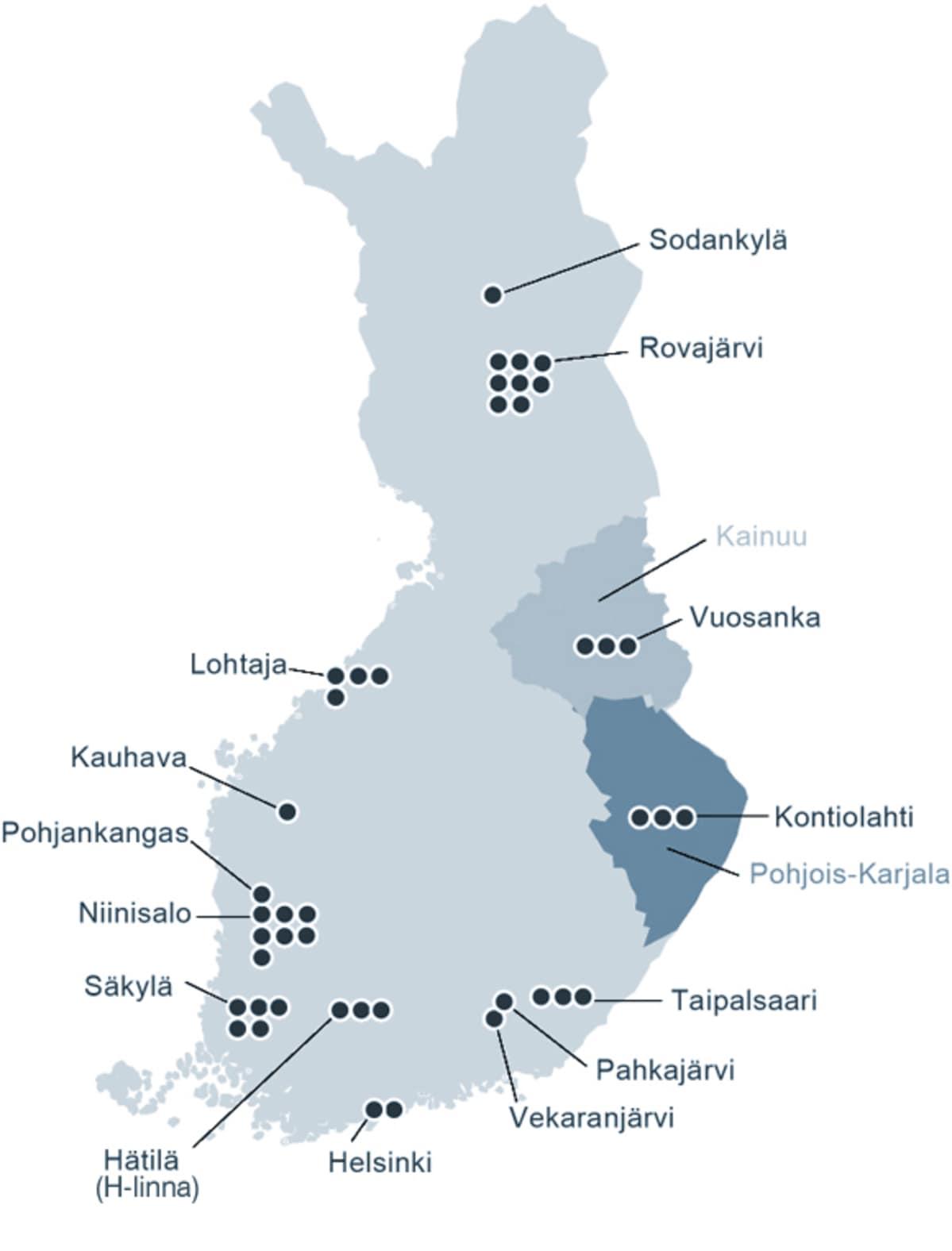 Suomen kartta, johon merkitty sotaharjoitukset.