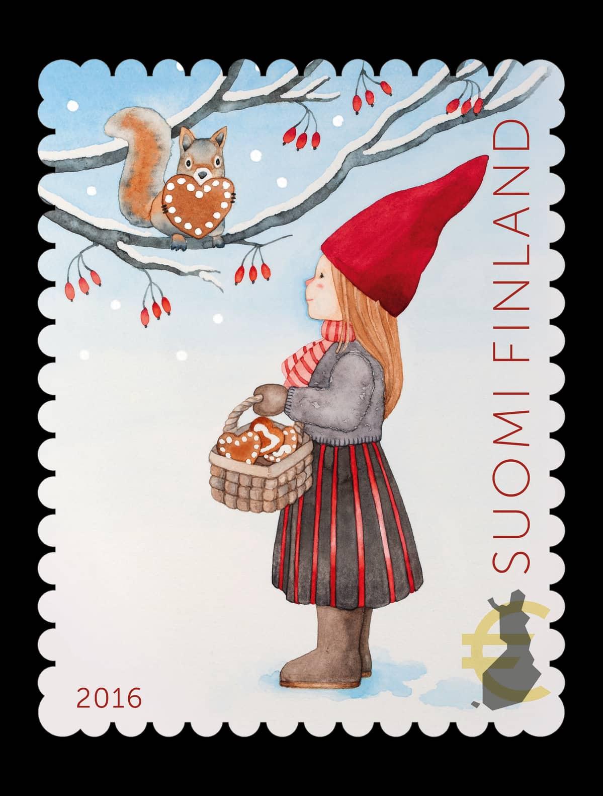 Joulupostimerkki Tyttö ja orava