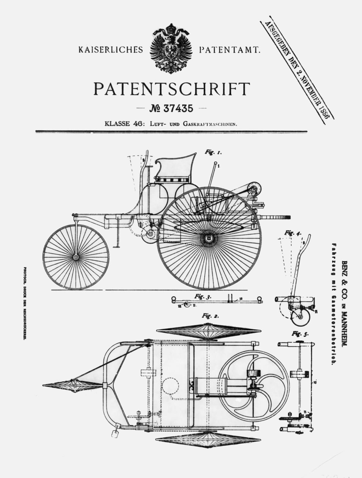 Benz patentttikirja 1886