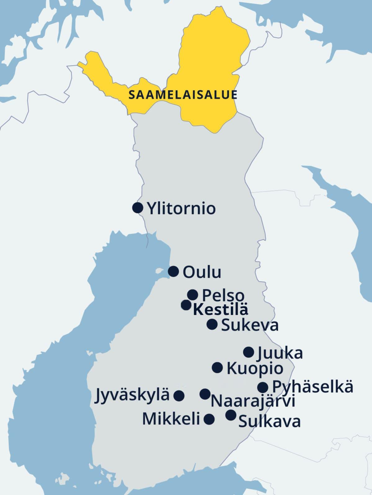 Kartta kaupungeista, joissa on vankila.