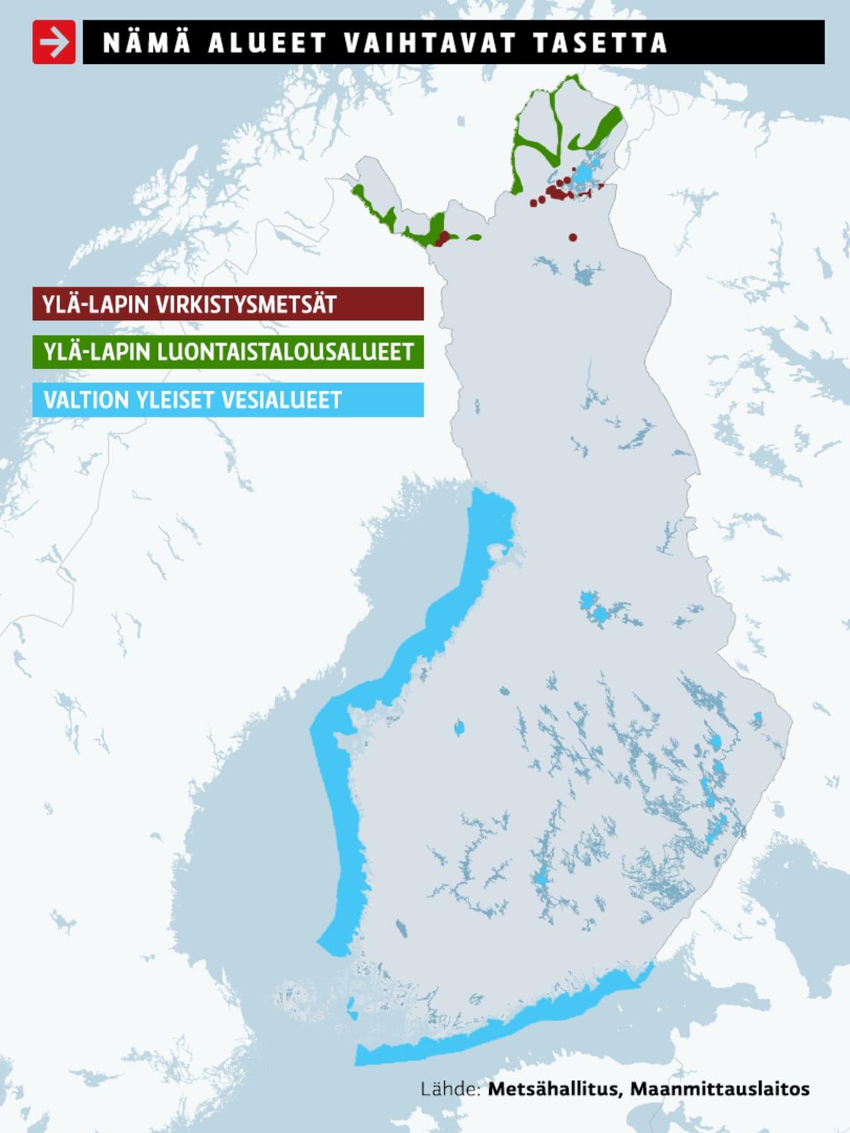 Karttagrafiikassa näkyvät Ylä-Lapin virkistysmetsät, Ylä-Lapin luontaistalousalueet ja valtion yleiset vesialueet.