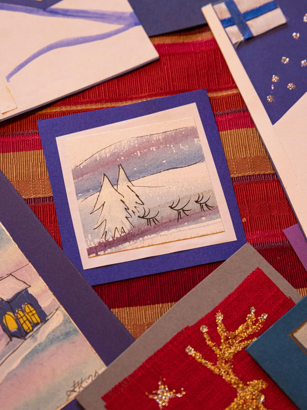 Leena Kaijansinkon tekemiä joulukortteja.