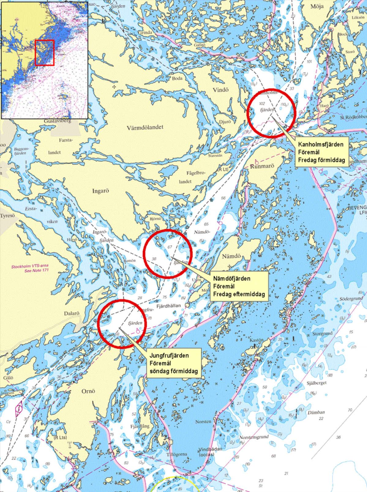 Ruotsin Puolustusvoimien Kartta Nayttaa Havaintopaikat