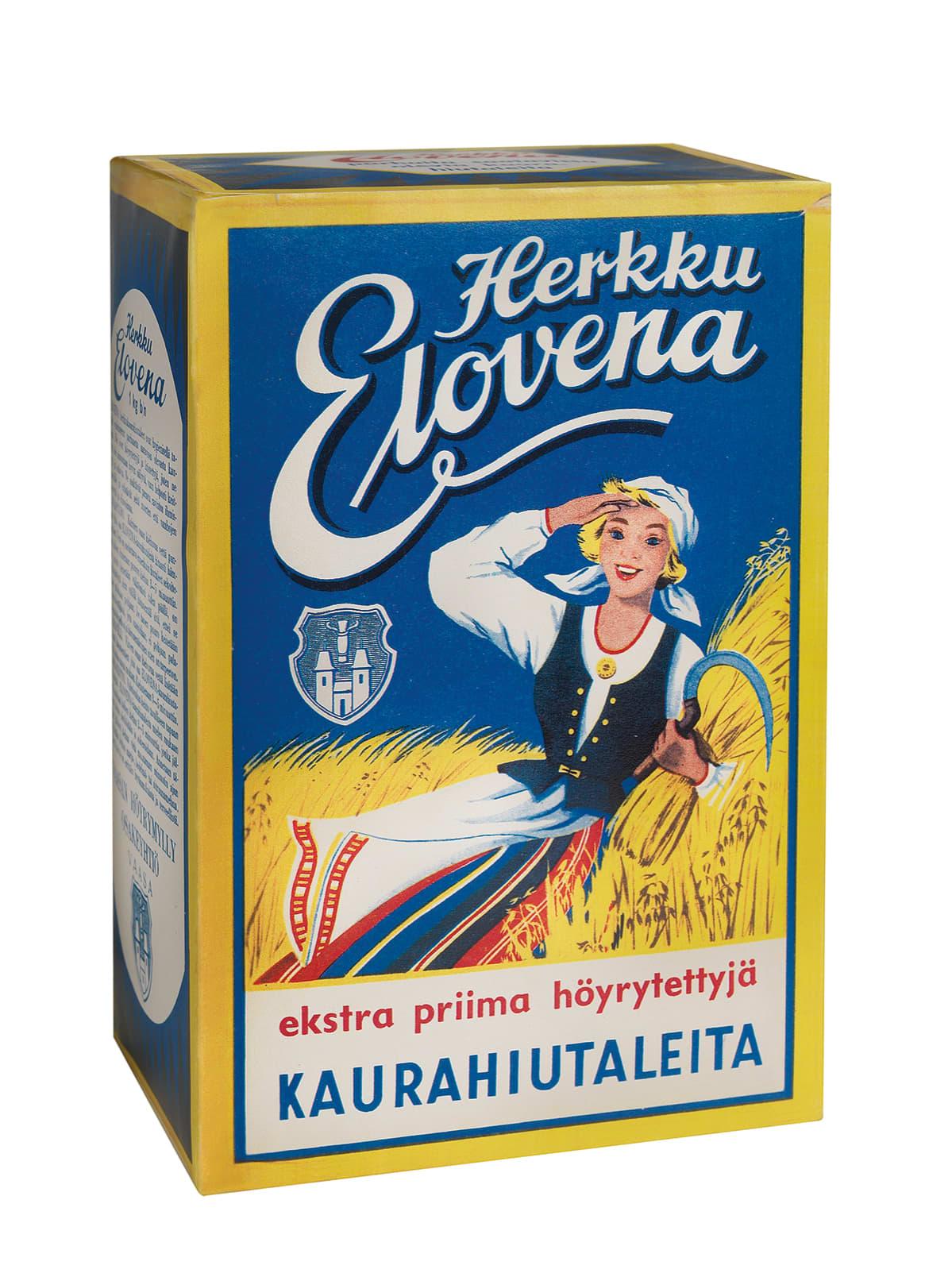 Herkku Elovena -kaurahiutalepaketti vuodelta 1958