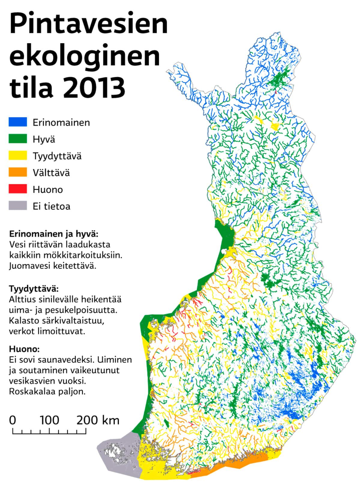 Tarkista Tasta Mokkivesistosi Puhtaus Vesien Kuntokartta Kattaa