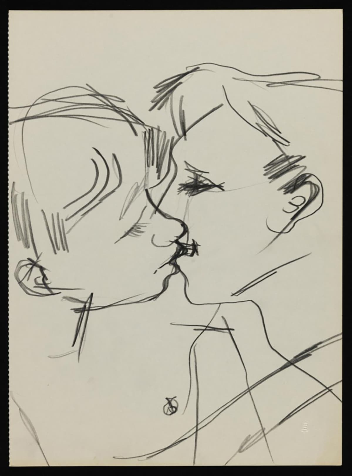 keith vaughan drawing of two men kissing.