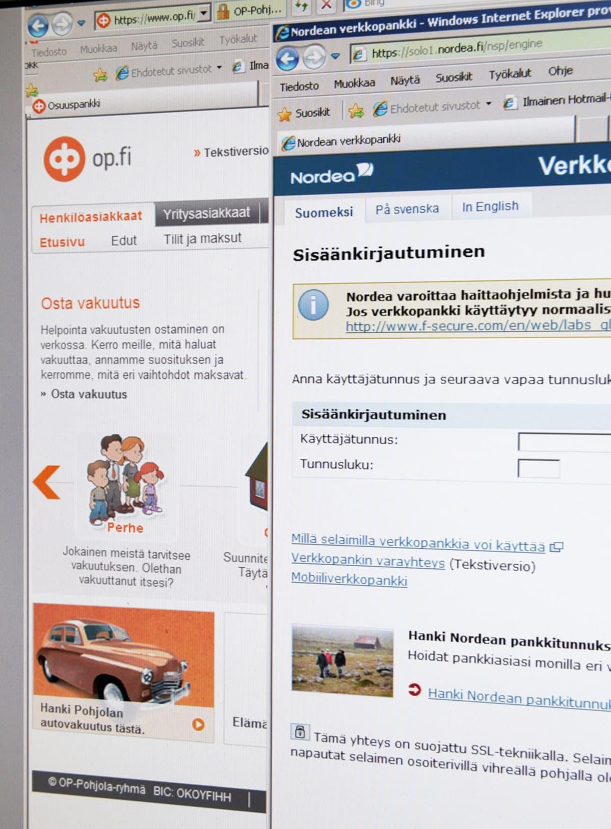 OP-Pohjolan ja Nordean verkkopankki-sivustot kuvattuna tietokoneen näytöltä.