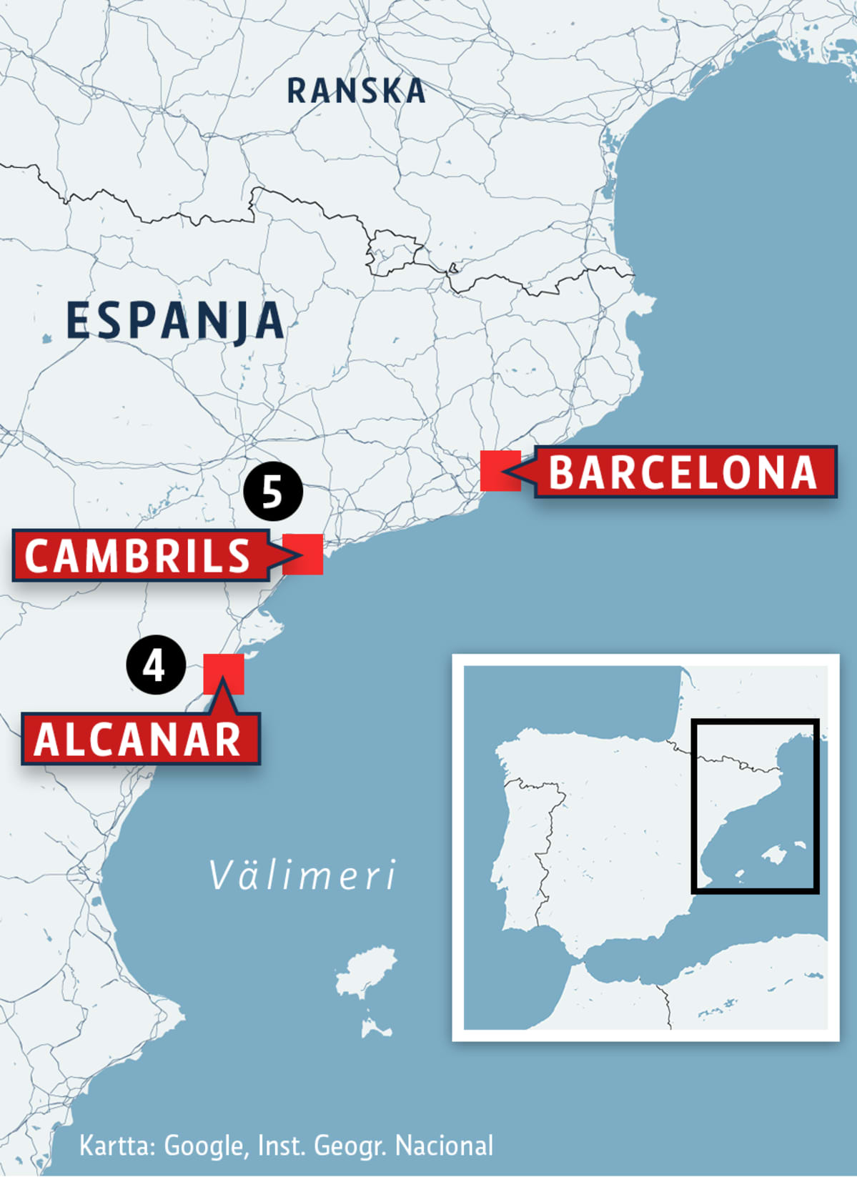 Espanjan rannikko.