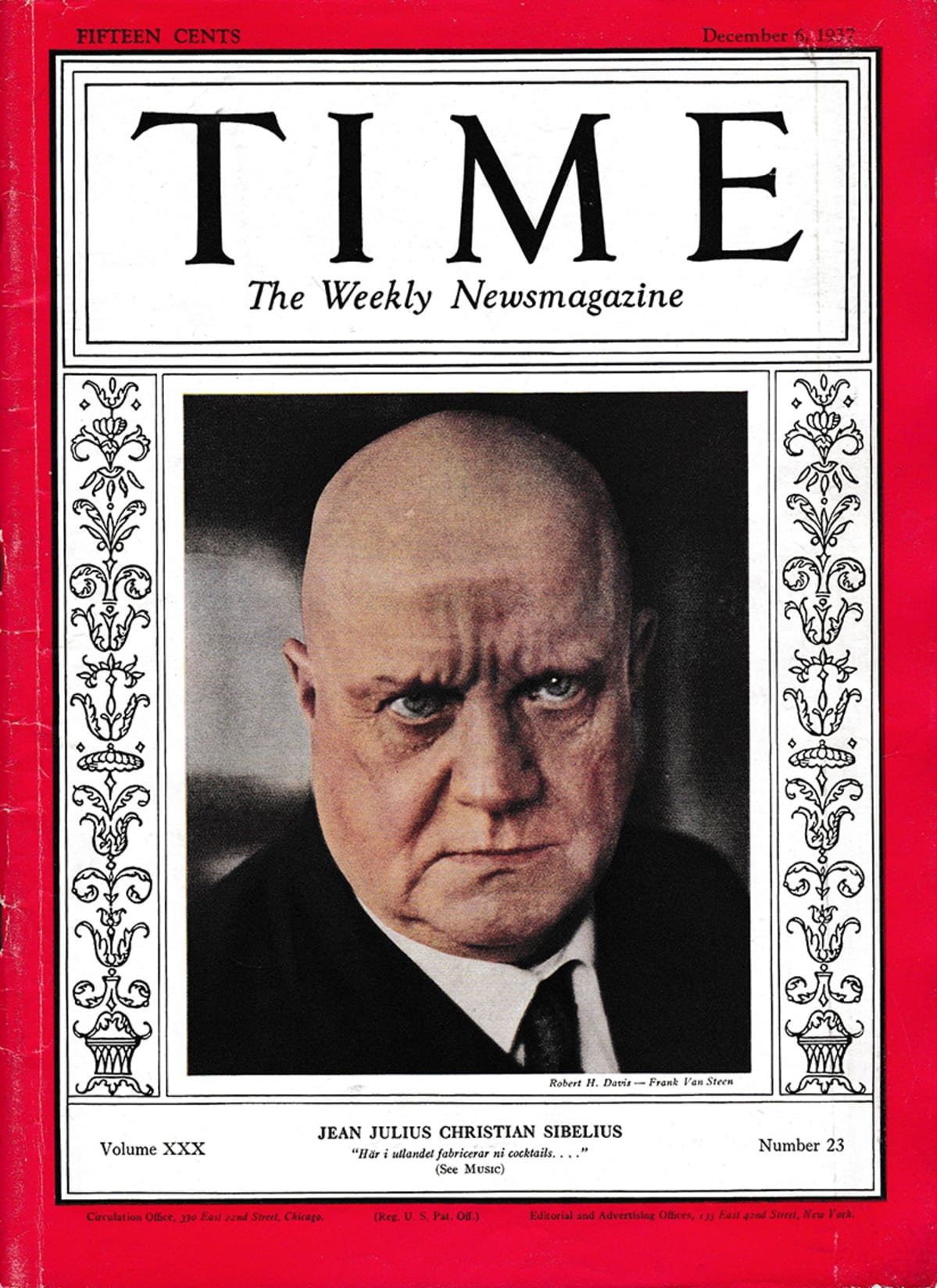 Jean Sibelius Time-lehden kannessa.