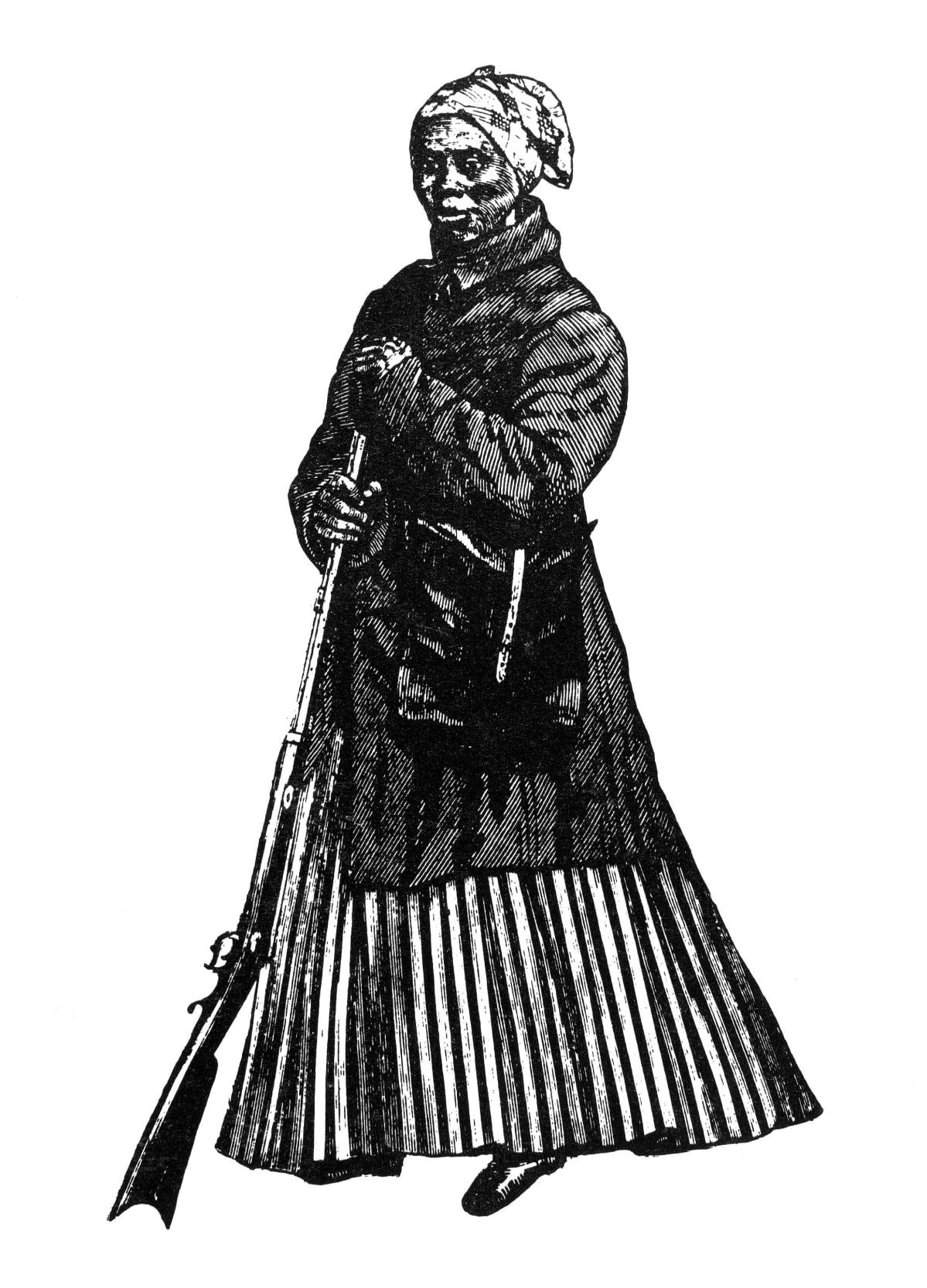 1800-luvun puukaiverrustyö esittää Harriet Tubmania. Hänellä on päässään huivi, yllään pitkä takki ja pitkä raidallinen hame. Käsissään hän pitää kivääriä.