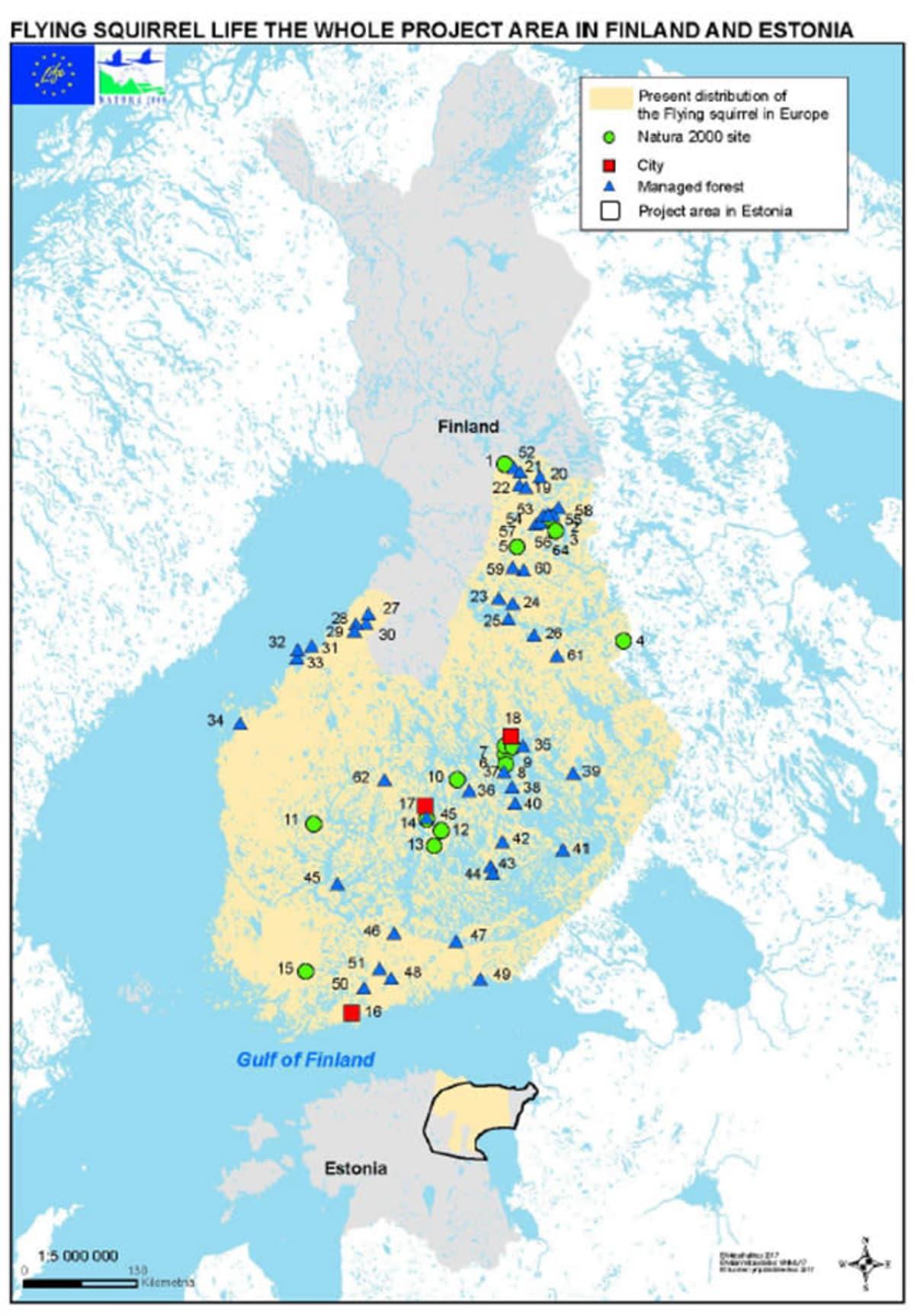 kartta johon merkattu alueita