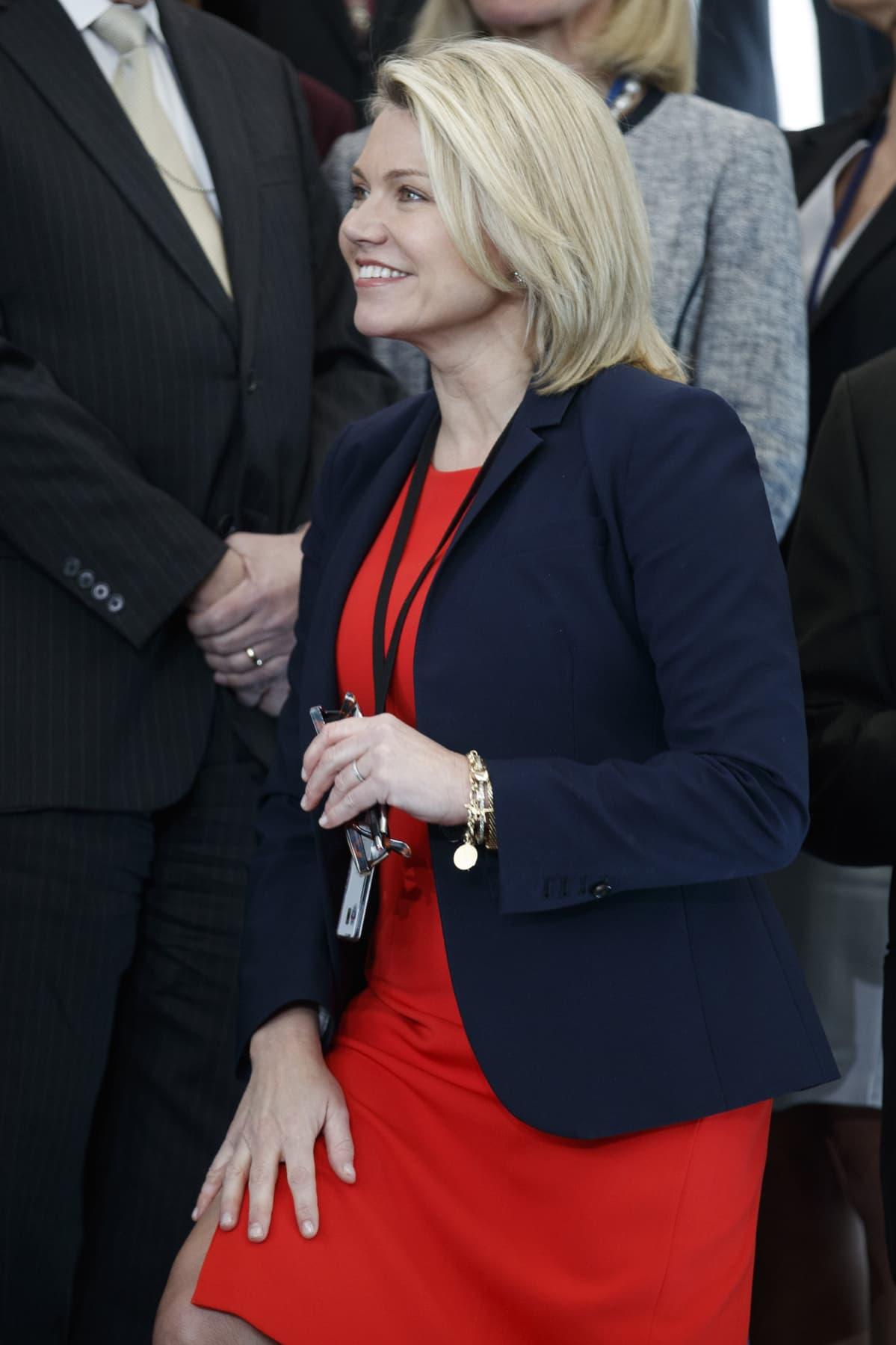 Ulkoministeriön tiedottaja Heather Nauert kuvattuna Washingtonissa 1. toukokuuta 2018.