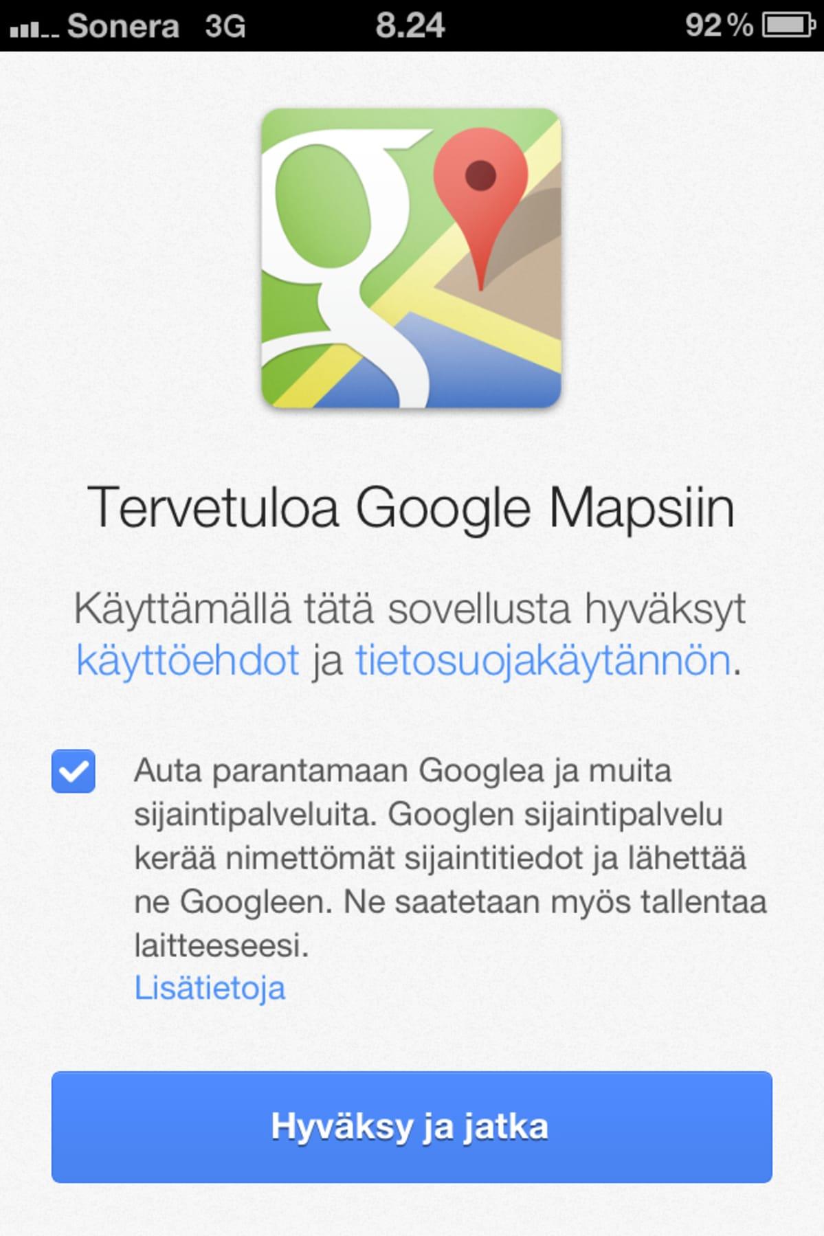 Näkymä  Google Maps -sovelluksesta iPhonessa.