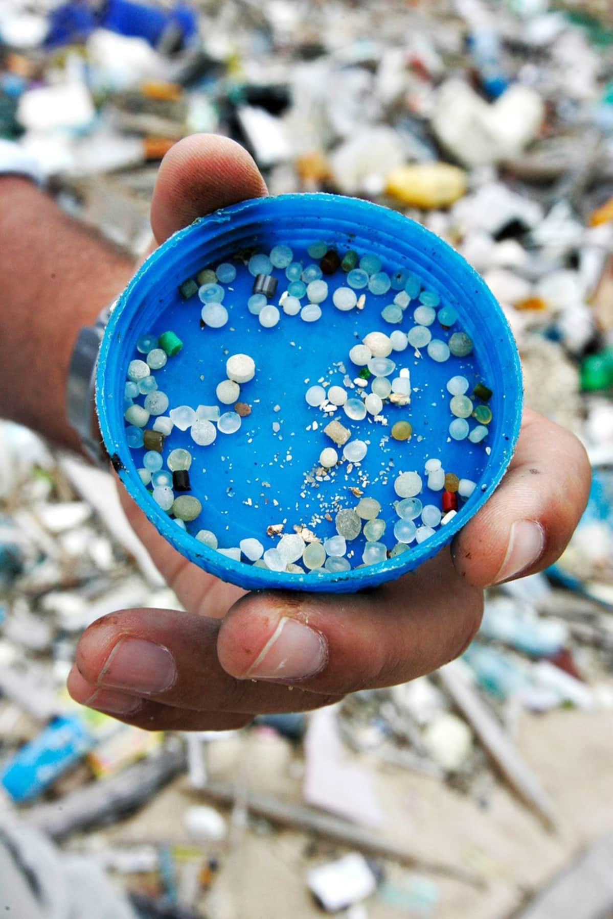 Hioutunutta muovijätettä rannalla.