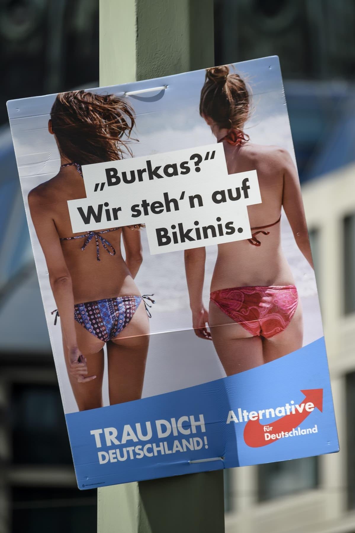 Vaihtoehto Saksalle (AfD) -puolueen vaalimainos.