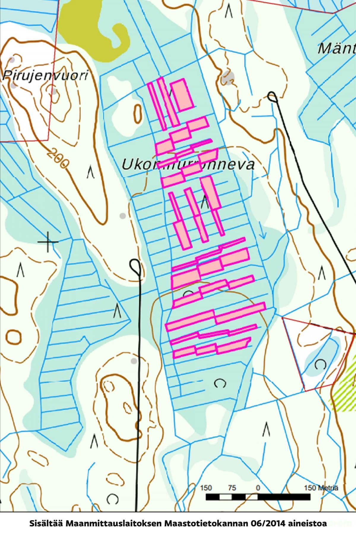 Kaistalehakkuu Ylöjärven Kurussa, kartta