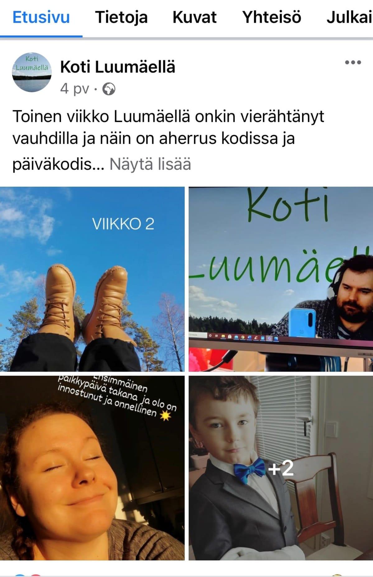 Kuvakaappaus perheen Facebook-tililtä. Kuvissa kuvia perheestä
