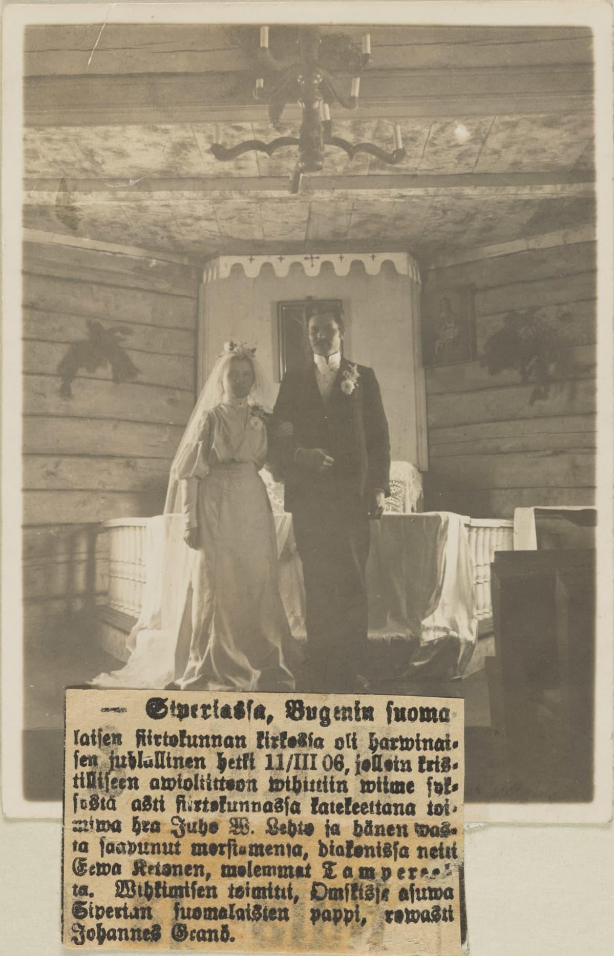 Katekeetta Juho W. Lehdon ja diakonissa Eeva Ketosen häät Siperiassa Bugenen suomalaisen siirtokunnan kirkossa.