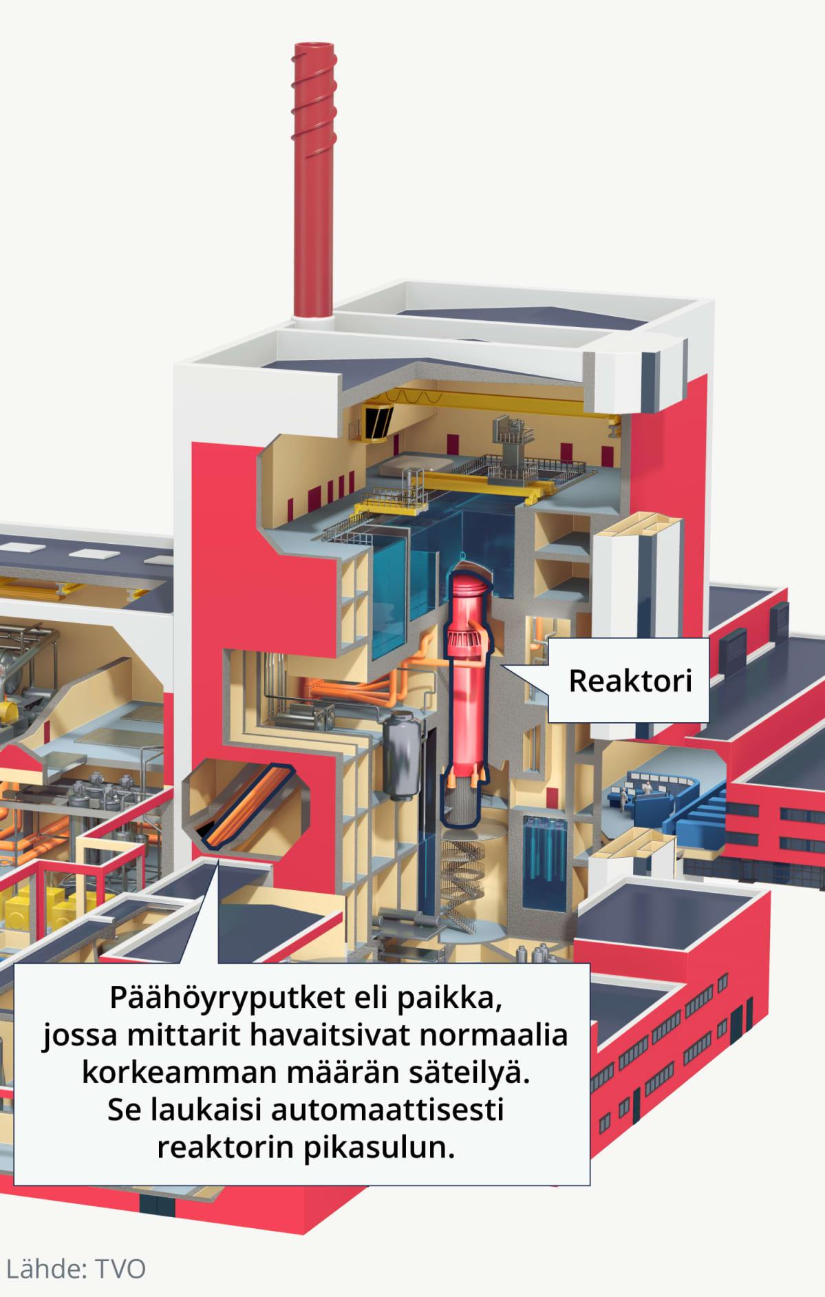Voimalan läpileikkaus, joka näyttää päähöyryputkien paikan, jossa normaalia korkeampi määrä säteilyä havaittiin