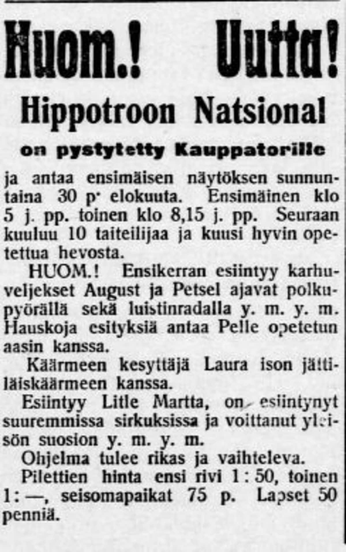 Lehti-ilmoitus Lahti-lehdestä vuodelta 1908.
