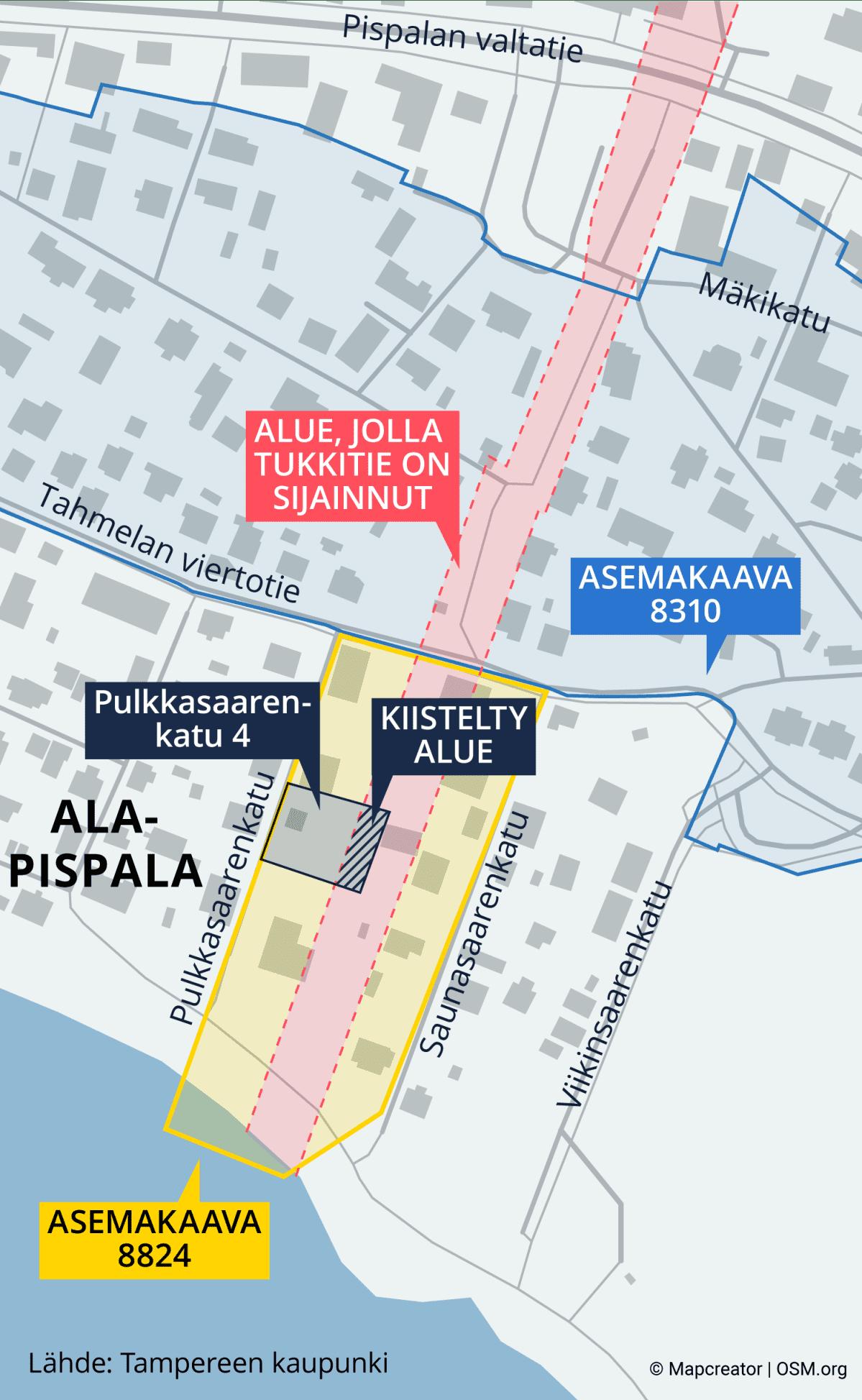 Kartta näyttää alueen, jolla punainen tukkitie on sijainnut sekä Pulkkasaarentie 4:n tontin ja kiistellyn alueen tontilla.