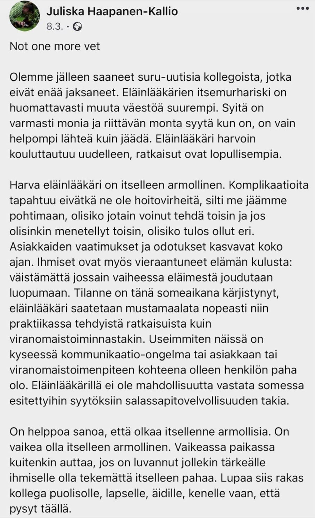Juliska Haapanen-Kallio vetoaa julkisessa FB-päivityksessään kollegoita jaksamaan.