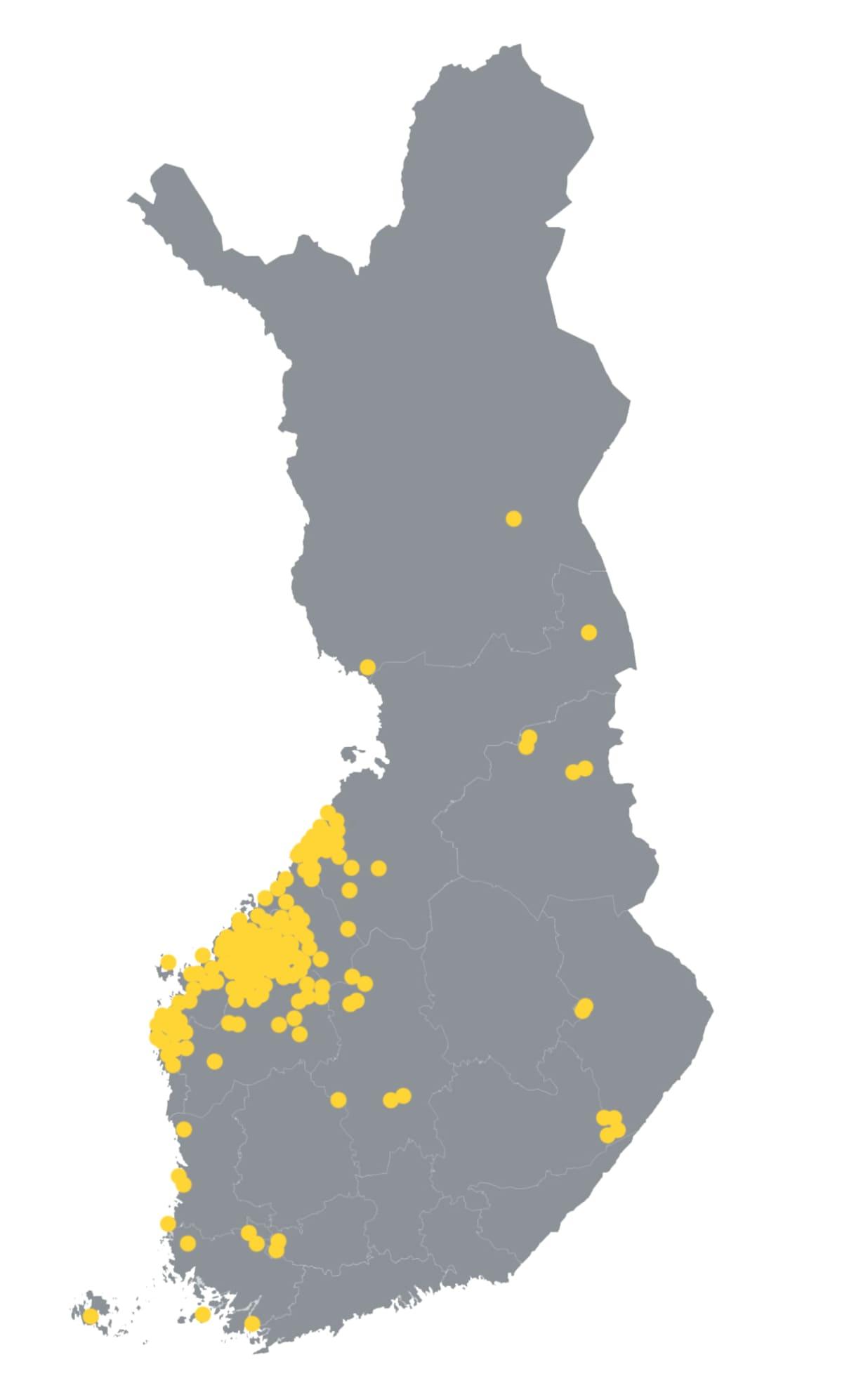 Turkistarhaukset Suomen kartalla.