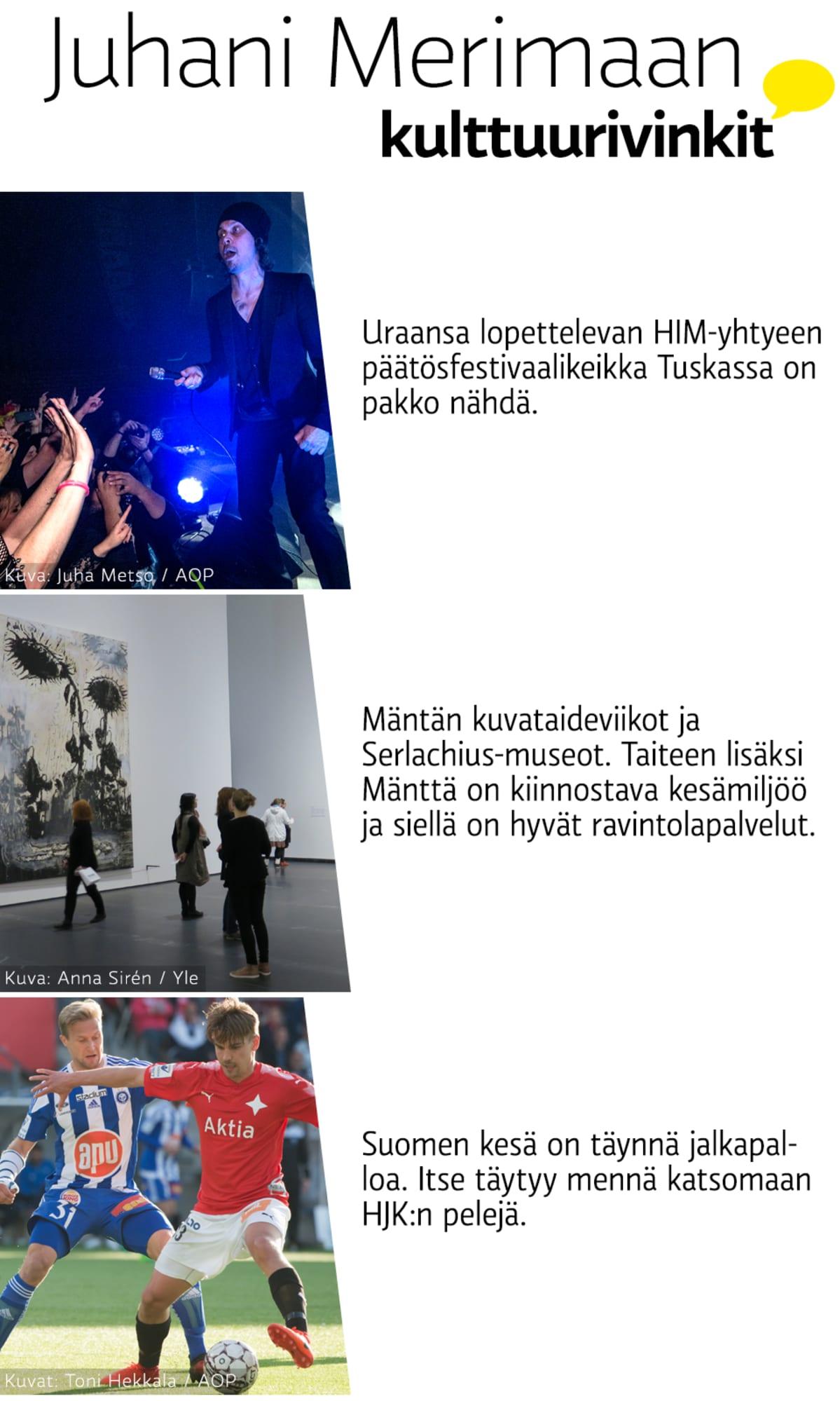 Juhani Merimaan kulttuurivinkit.