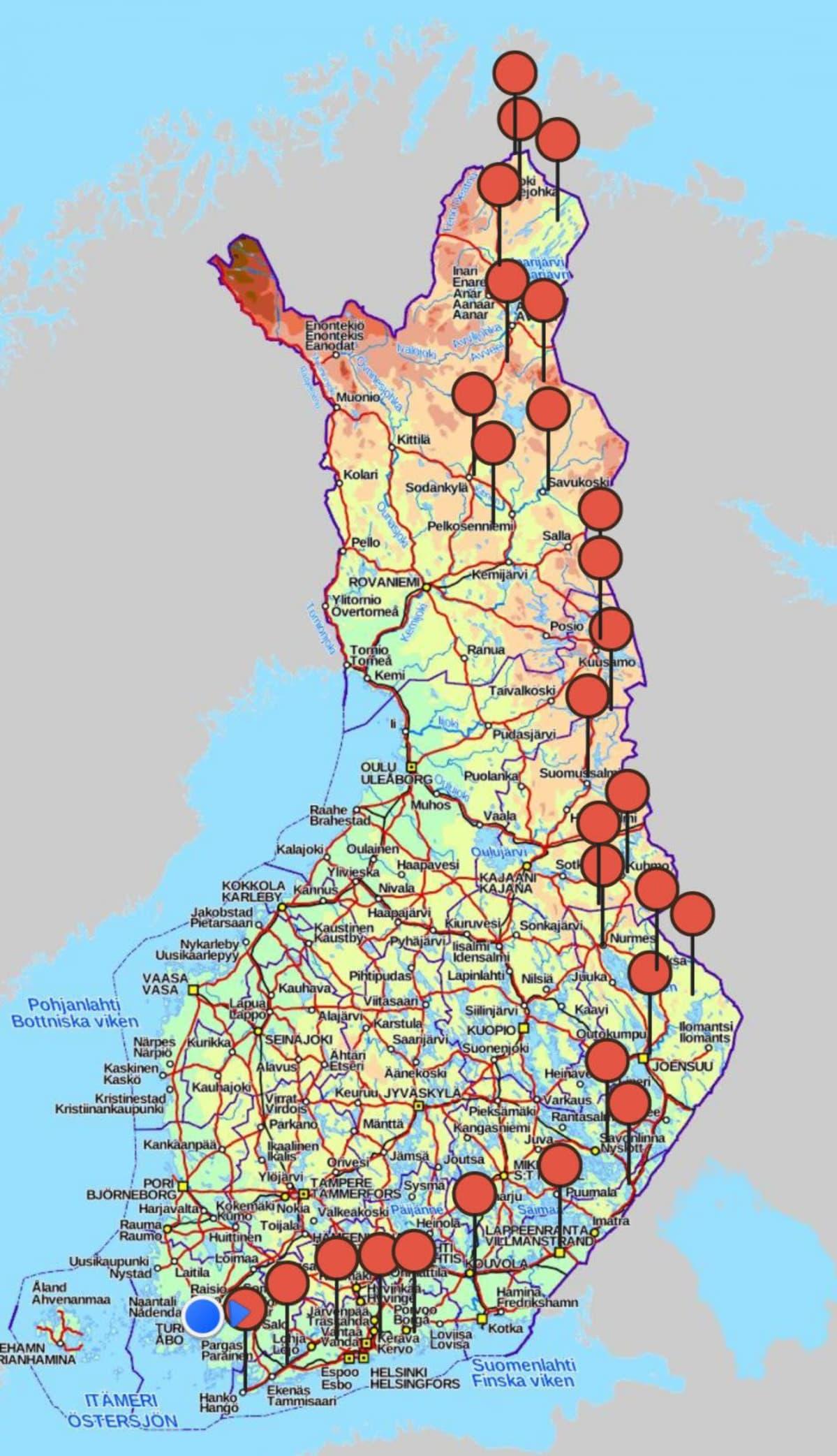 Tero Mäkisen kävelyreitti Suomen halki