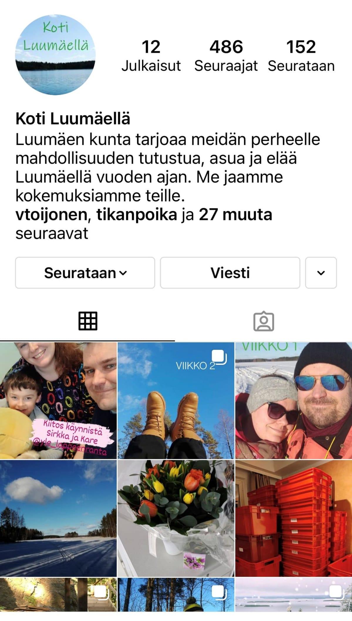 Kuvakaappaus perheen Instagram-tililtä. Kuvassa kuvia perheestä.