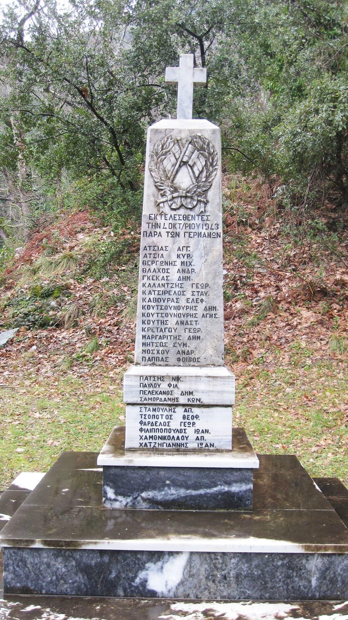 Kreikasta löytyy monta natsien uhrien muistomerkkejä. Tämä on Miliesin vuoristokylästä.
