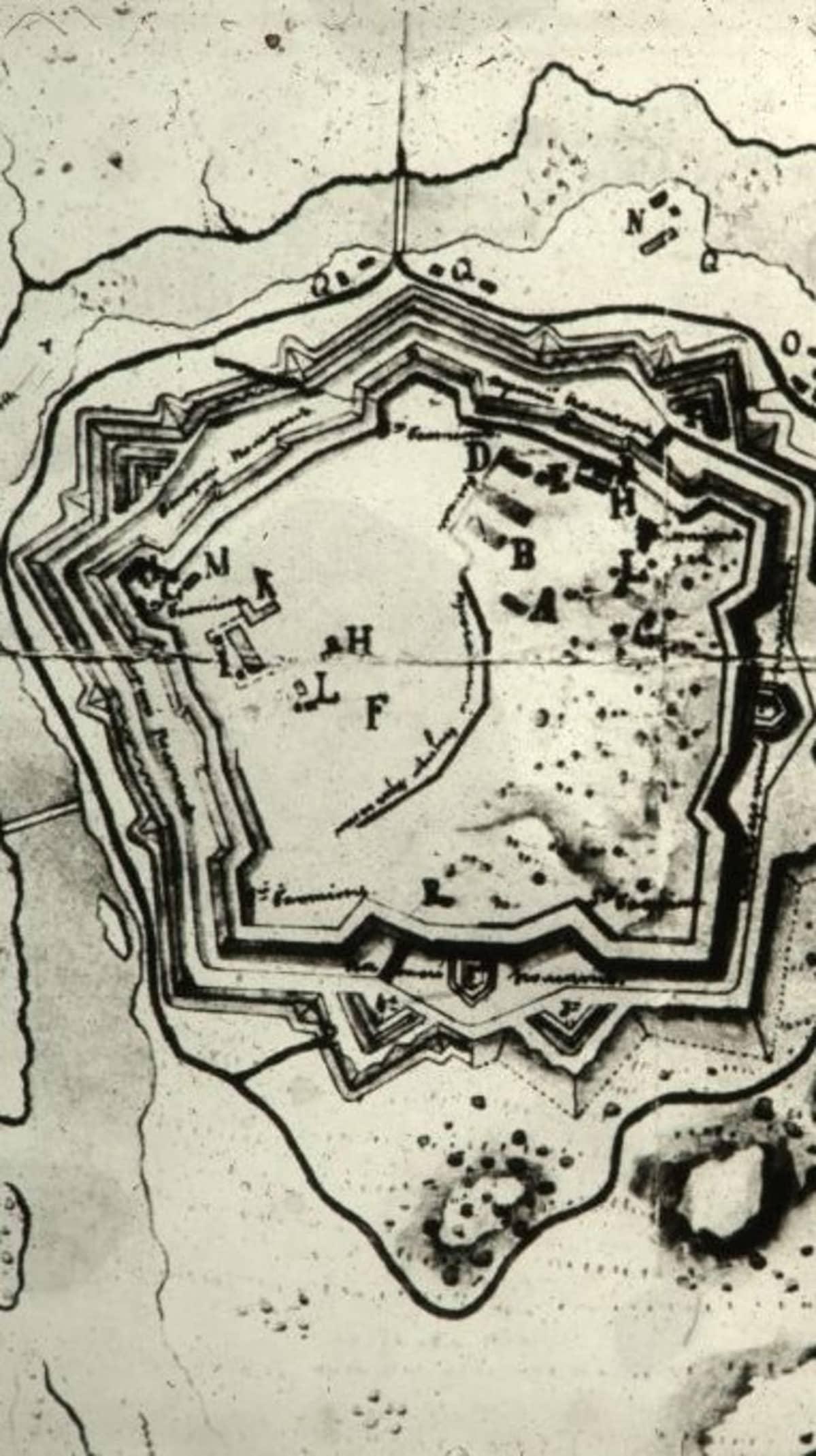 Kartta 1800-luvulta Kyminlinnasta