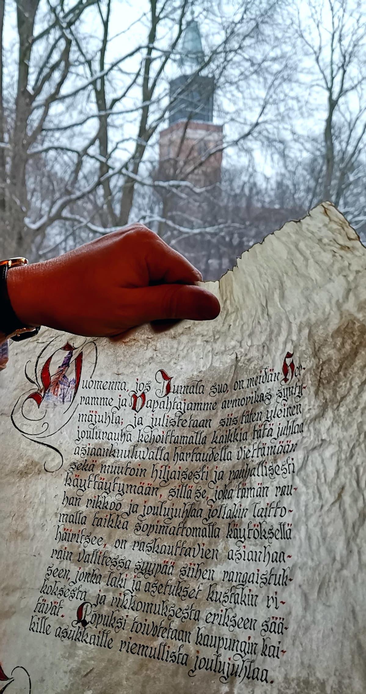 Joulurauhan julistuspergamentti.