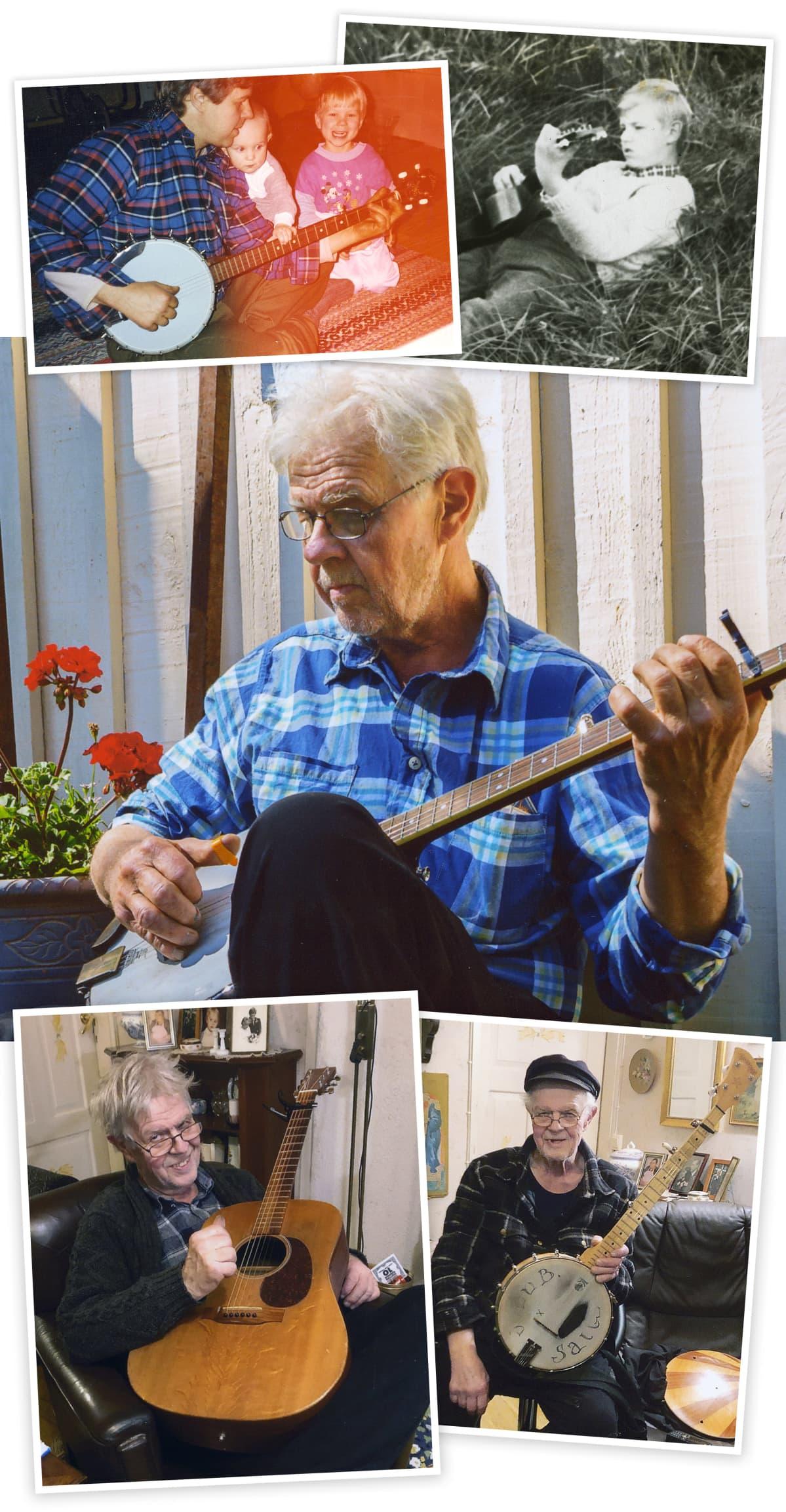 Antti Lehtisen valokuvia, joissa hän soittaa banjoa ja kitaraa.