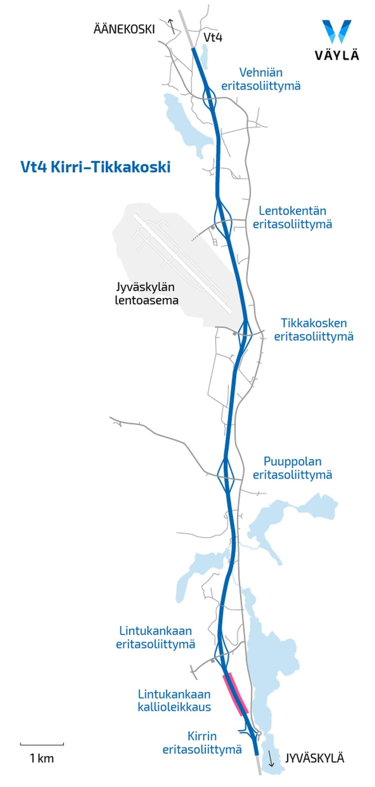 Kirri-Tikkakoski-Vehniä -moottoritieurakan kartta Nelostiellä Jyväskylän pohjoispuolella.