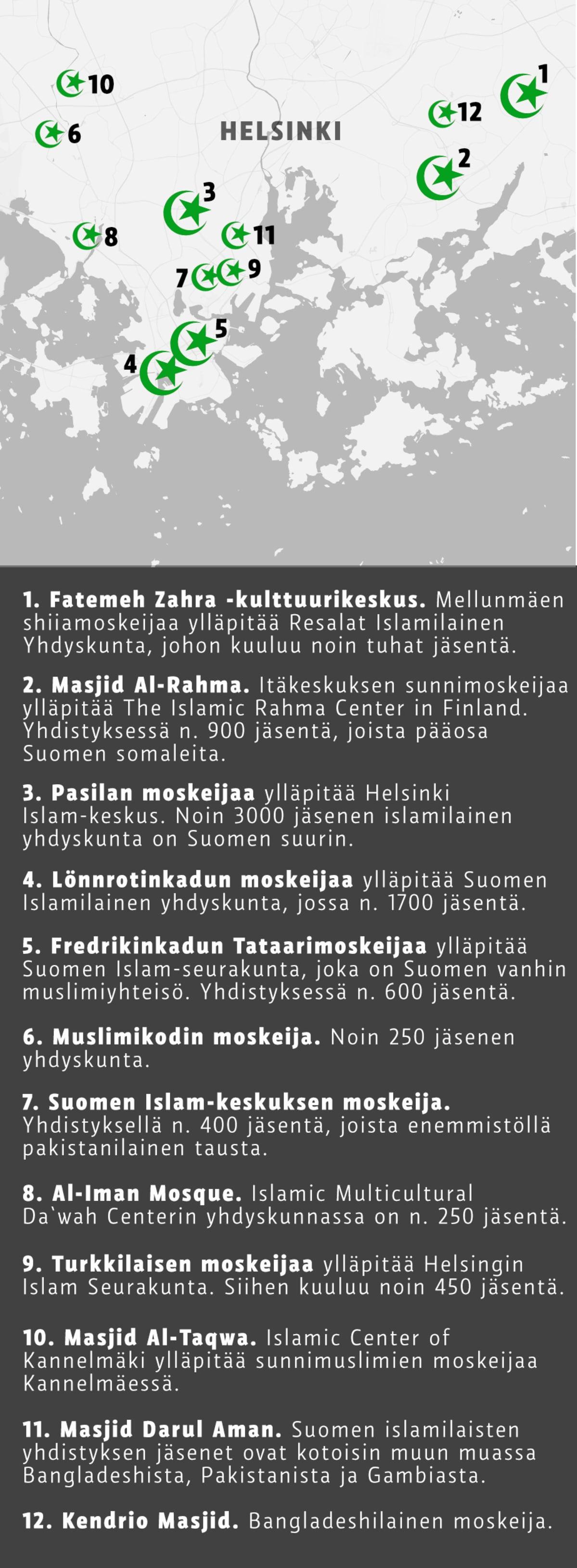 Kartta moskeijoista Helsingissä.