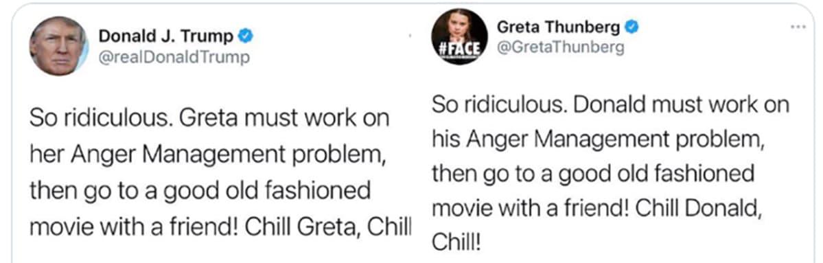 Kuvakaappauksia Greta Thunbergin ja Donald Trumpin Twiiteistä