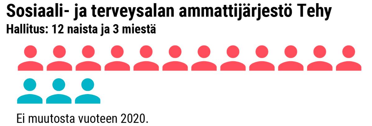 Grafiikka naisten osuudesta Sosiaali- ja terveysalan ammattijärjestö Tehy:n hallituksessa.