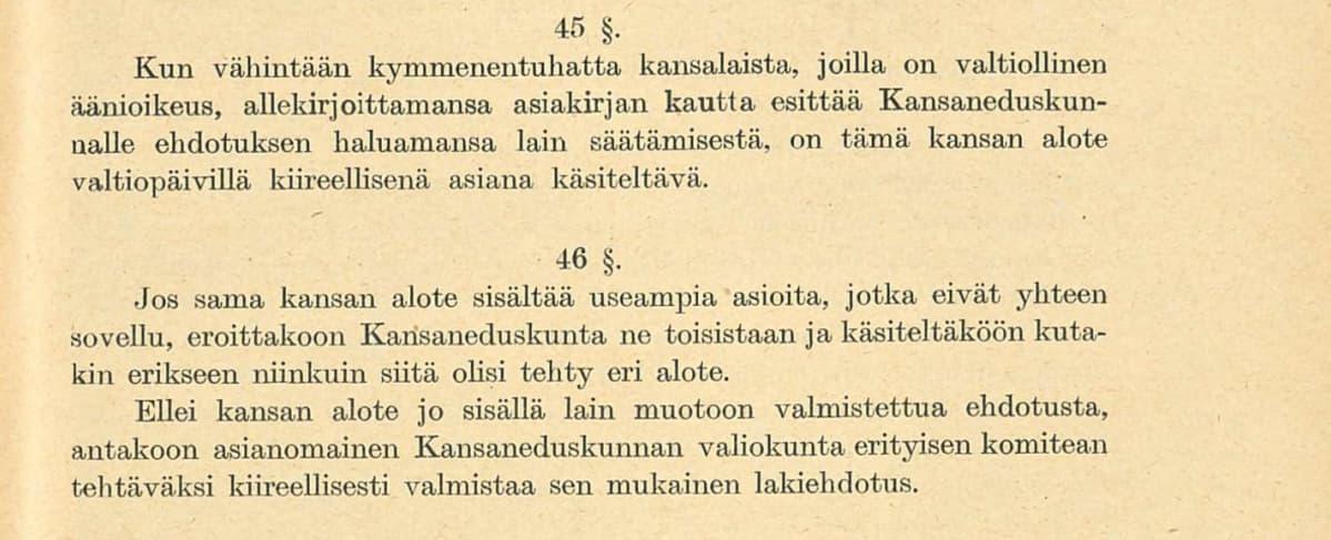 Valtiosääntöehdotus 1918 pykälät 45-46