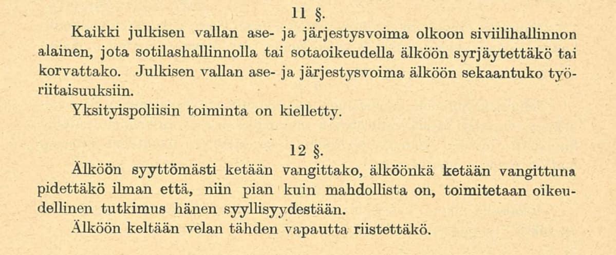 Valtiosääntöehdotus  1918 pykälät 11-12